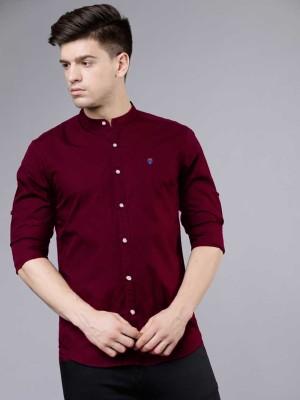 FUBAR Men Solid Casual Maroon Shirt
