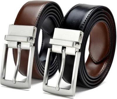 Harlie King Men Formal, Casual, Party, Evening Black, Brown Texas Leatherite Reversible Belt