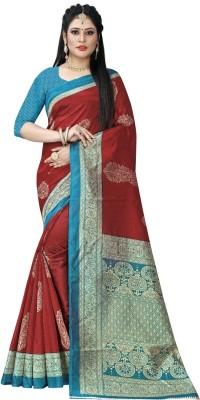 SHIVANSHTEX Printed Bollywood Cotton Silk Saree Red