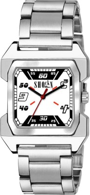 Shocknshop Stylish White Square Dial Stainless Steel Boys Analog Watch   For Men Shocknshop Wrist Watches