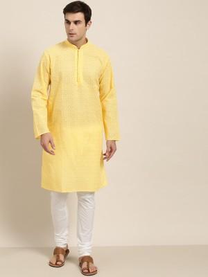 SOJANYA Men Embroidered Straight Kurta(Yellow)