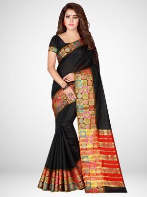 bunkar floral print fashion silk cotton blend saree black