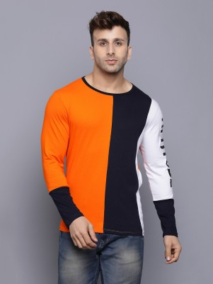 Rockhard Color Block Men Round Neck Orange T-Shirt