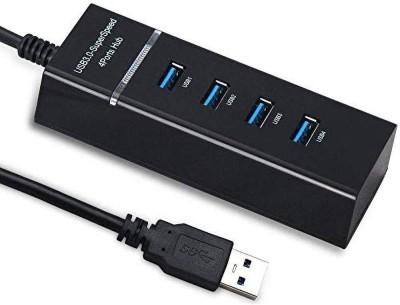 infideals 4 Port USB HUB 3.0 Extension, 5 GBPS High Speed Data Transfer Splitter for Laptop, PC and Mobile USB 3.0 4 Port Hub USB Hub Black infideals M