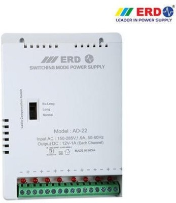 ERD AD22 CCTV Camera 8 Channel Power Supply SMPS support All HD Cameras Worldwide Adaptor White