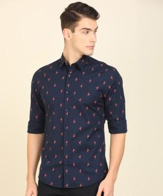 Peter England University Men Printed Casual Dark Blue Shirt