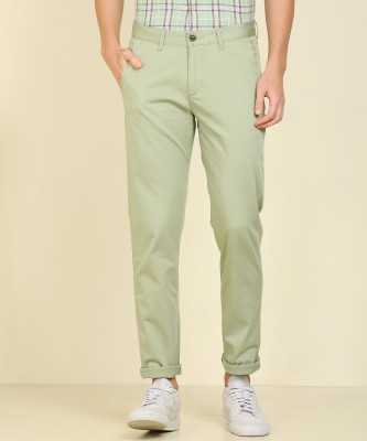 Peter England University Slim Fit Men Green Trousers