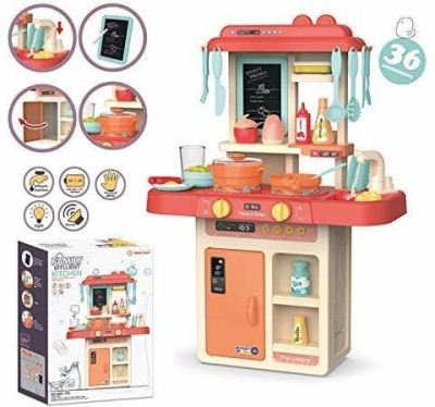 CountryLink Kids 36-Piece Kitchen Playset, with Realistic Lights & Sounds, Play Sink with Running Water,Dessert Shelf Toy & Kitchen Accessories Set for 4 Year Old Girls