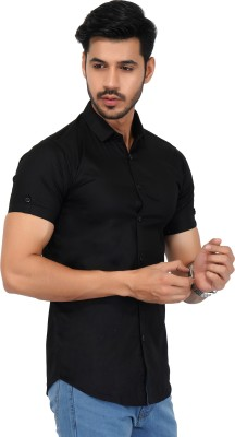 Jai Textiles Men Solid Casual Black Shirt