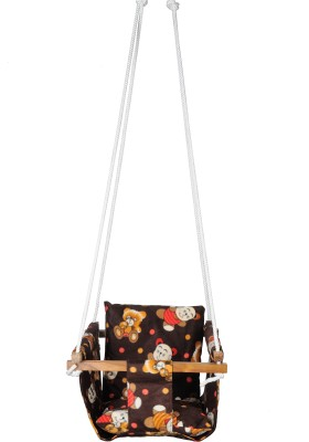 Swingzy Hanging Baby Swing Chair/ Cushions Wooden Small Swing(Brown)