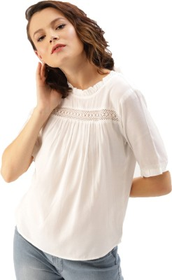 Stylistico Casual Regular Sleeve Solid Women White Top