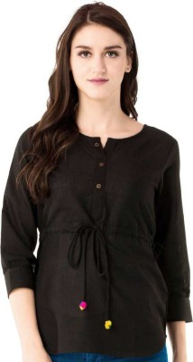 ANSHU FASHIONS Casual 3/4 Sleeve Solid Women Black Top