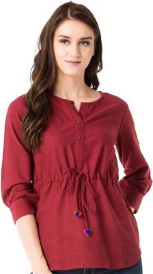 ANSHU FASHIONS Casual 3/4 Sleeve Solid Women Maroon Top