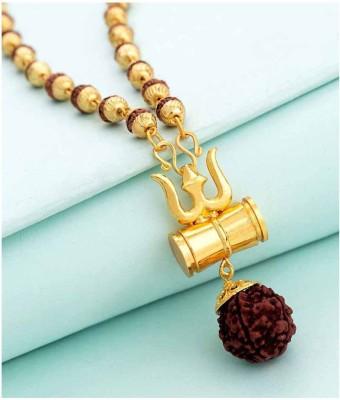 Moksha Loard Shiv Shakti Kavach 5 Mukhi Rudraksha Mala With Shiv Trishul & Damru Wood Chain Alloy, Wood Locket Gold-plated Alloy, Wood