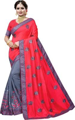 Krishna R fashion Printed Bollywood Cotton Jute Blend, Lace Saree(Pink, Grey)