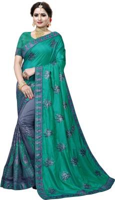 Krishna R fashion Woven Bollywood Poly Crepe Saree(Green, Grey)