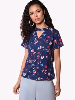 Chimpaaanzee Casual Short Sleeve Floral Print Women Dark Blue Top