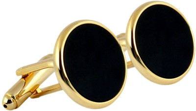 Royal Villa Crafts Brass Cufflink Set(Gold, Black)