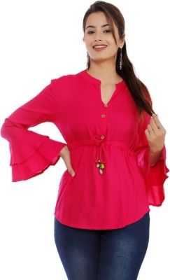 Silkova Casual Flute Sleeve Solid Women Pink Top
