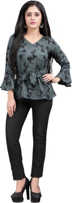 Hiva Trendz Party Bell Sleeve Floral Print Women Green Top