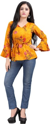 Hiva Trendz Casual Bell Sleeve Printed Women Red, Green, Yellow Top