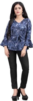 Hiva Trendz Party Bell Sleeve Floral Print Women Blue Top