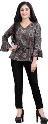 Hiva Trendz Party Bell Sleeve Floral Print Women Grey Top