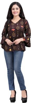 Hiva Trendz Party Bell Sleeve Floral Print Women Brown Top
