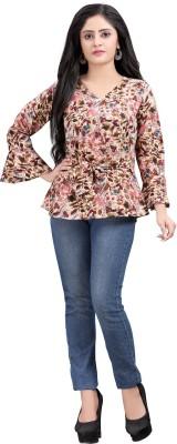 Hiva Trendz Party Bell Sleeve Floral Print Women Beige Top