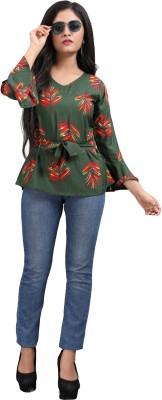 Hiva Trendz Party Bell Sleeve Floral Print Women Green Top