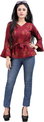 Hiva Trendz Casual Bell Sleeve Printed Women Maroon Top