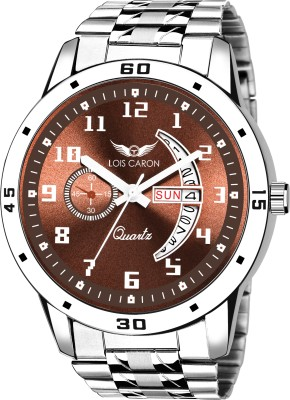 LOIS CARON LCS-8187 BROWN DIAL AND SILVER STRAP DAY & DATE FUNCTIONING WATCH FOR BOYS Analog Watch  - For Men
