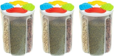 2Mech New Plastic Storage 4Section Container for Kitchen 2000ml 4Sections Air Tight Transparent Food, Grain, Cereal Dispenser Storage Container Jar, Storage containers, Masala Boxes Set of 3  - 2000 ml Plastic Cereal Dispenser(Pack of 3, Multicolor)