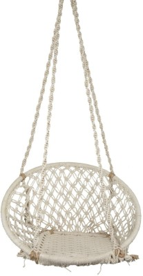 Swingzy Make In India, Cotton Hanging Swing Cotton, Wooden Small Swing(White)