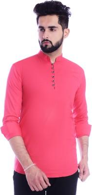 Golden attire Men Solid A-line Kurta(Pink)