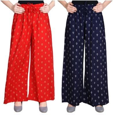 Aawari Regular Fit Women Dark Blue, Red Trousers