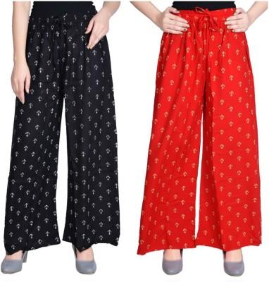 Aawari Regular Fit Women Red, Black Trousers