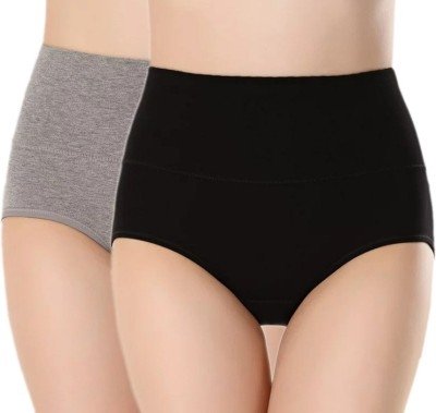 PLUMBURY Women Hipster Black, Grey Panty(Pack of 2)