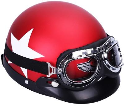 Raj SAFETY HELMET WITH GOOGLE DETACHABLE Motorbike Helmet(Red)
