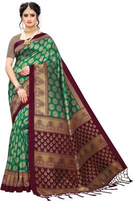Fabwomen Printed Bhagalpuri Art Silk Saree(Green)