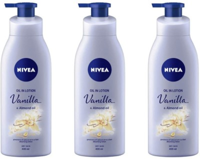 Nivea Vanilla Body Lotion 400 ml (Pack of 3)(1200 ml)