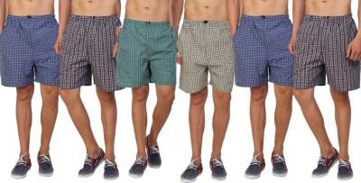 Welo Checkered Men Boxer(Pack of 6)
