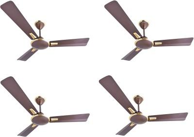 Crompton Aura Prime Pack of 4 1200 mm 3 Blade Ceiling Fan(Dusky Brown, Pack of 4)