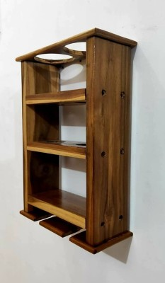 PeachCherry Wine Rack (Small) Wooden Wall Shelf(Number of Shelves - 1, Brown)