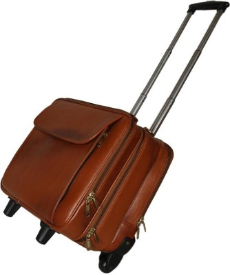 HYATT Leather Accessories 42 Ltrs Tan Leather Laptop Roller Cases Trolley Bags Cabin   Check in Luggage   20 inch HYATT Suitcases