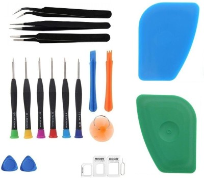 Wroughton 9 in 1 Professional Screwdriver Set Mobile Repairing and Opening Tool Kit for All Mobile With 2 Mobile Opener, 4 in 1 Nano Sim Card Adapter Kit with Sim Ejector Pin and 2 Plastic Spudger for Mobile Screen and Battery Removal and 3 ESD Non Magnetic Tweezers- Straight, Flat & Curved Precisio