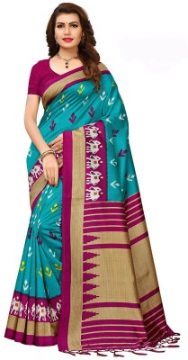JASHIYA Printed Bollywood Cotton Silk Saree Multicolor JASHIYA Women\'s Sarees