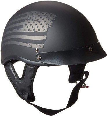 Torc Unisex-Adult Size Style T53 Black Hills Motorcycle Half Helmet with Graphic Flag Motorbike Helmet(Black)