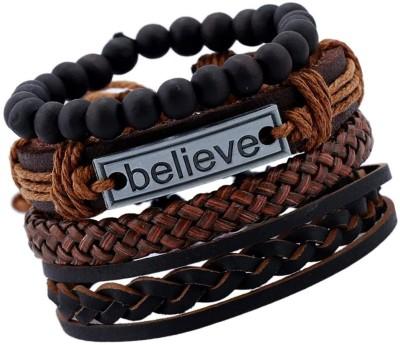 Jewelgenics Leather Bracelet(Pack of 4)