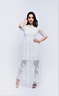 ANVI Be Yourself Women A-line White Dress